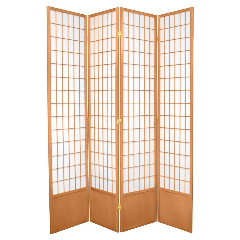 7 ft. Tall Window Pane Shoji Screen - Natural (4 Panels), Neutral