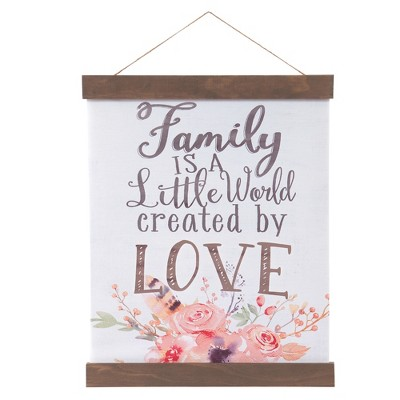 16 x20  Family Created By Love Hanging Print with Wood Detail Wall Canvas White - Patton Wall Decor