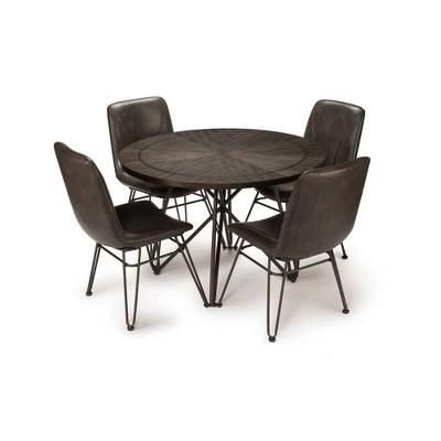 5pc Derek Extendable Dining Table Set Gray/Black - Steve Silver