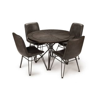 5pc Derek Dining Table Set Gray/Black - Steve Silver