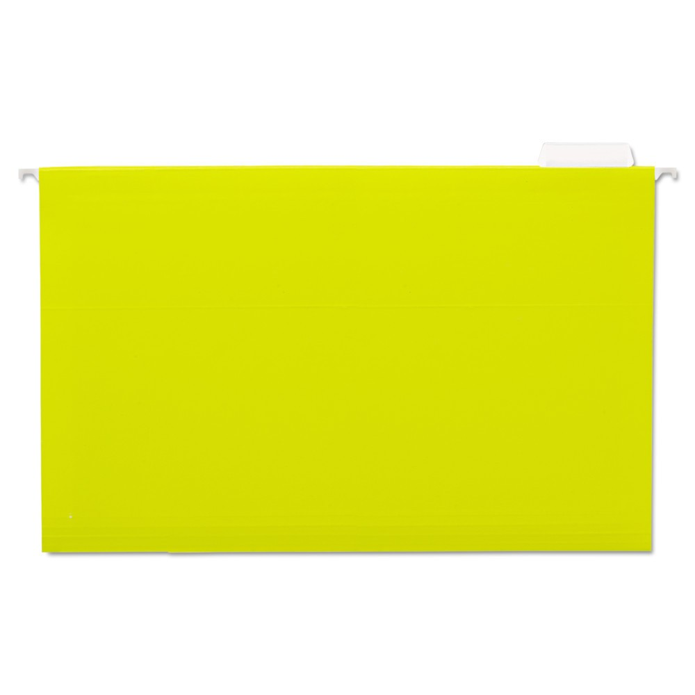 Universal One Hanging File Folders, 1/5 Tab, 11 Point Stock, Legal, Yellow, 25/Box