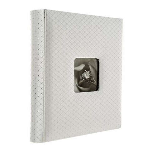 Adorama Proof Album Series, Holds 200 5x7  Photos, With a 4x6  Window Opening, Color: White Diamond Pattern Cover with White Pages. - image 1 of 3