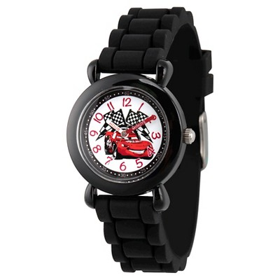 Boys' Disney Cars Lightning McQueen Black Plastic Time Teacher Watch, Black Silicone Strap, WDS000150