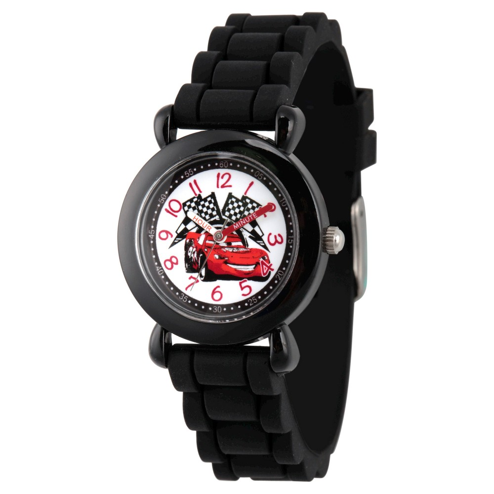 Image of Boys' Disney Cars Lightning McQueen Black Plastic Time Teacher Watch, Black Silicone Strap, WDS000150, Boy's
