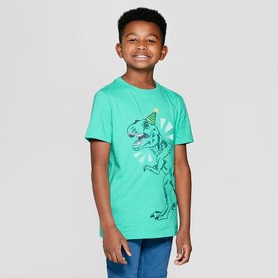 Boys Short Sleeve Birthday Dinosaur Graphic T Shirt