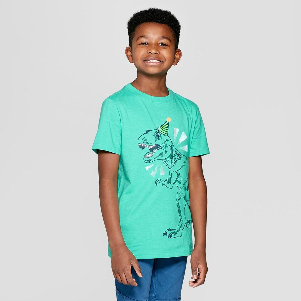Boys' Short Sleeve Birthday Dinosaur Graphic T-Shirt - Cat & Jack Green XS