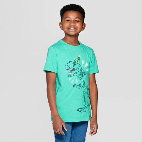 Boys' Short Sleeve Birthday Dinosaur Graphic T-Shirt - Cat & Jack™ Green - image 1 of 3
