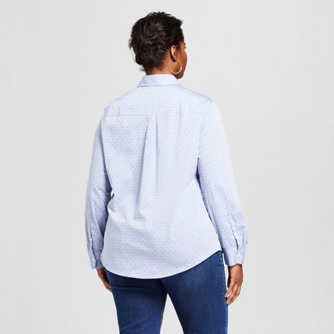 8f62675f20586 Women s Plus Size Button-Down Dot Shirt - Ava   Viv™ Blue X   Target