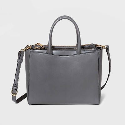 Triple Compartment Zip Closure Satchel Handbag - A New Day™ Gray