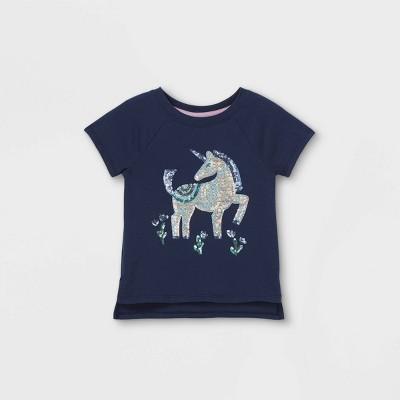 Toddler Girls' Sequin Unicorn Short Sleeve T-Shirt - Cat & Jack™ Navy
