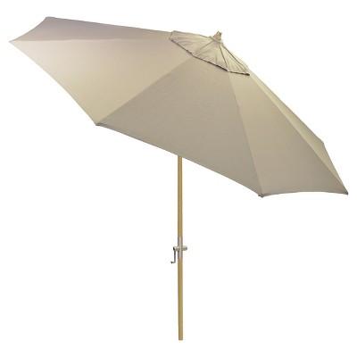 8.9' x 8.9' Round Sunbrella® Umbrella - Canvas Taupe - Light Wood Finish - Smith & Hawken™