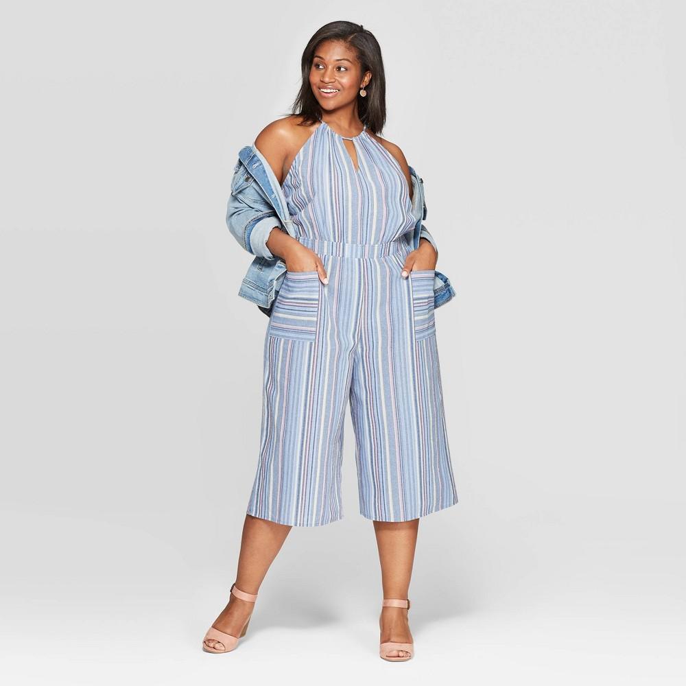Women's Plus Size Striped Strapless V-Neck Jumpsuit - Universal Thread 1X, Blue