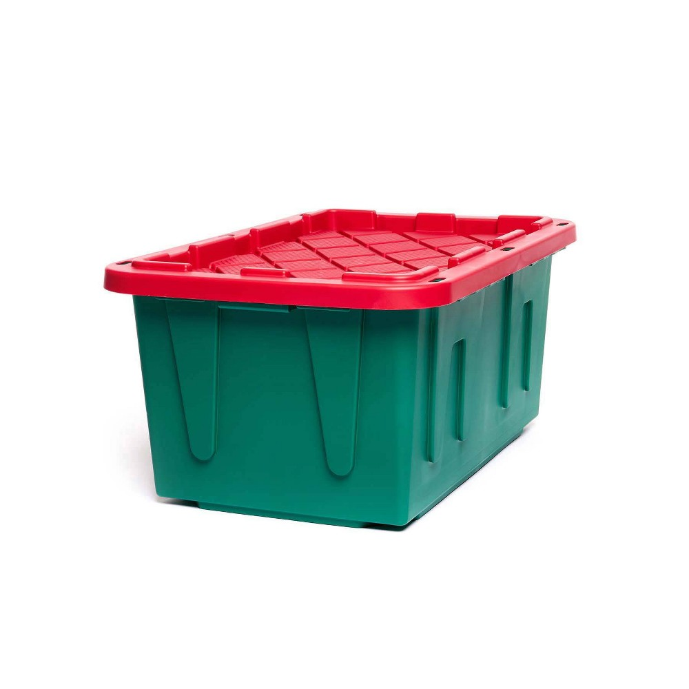 Image of 2pk 27gal Holiday Durabilt Tough Container - Homz, Green Red