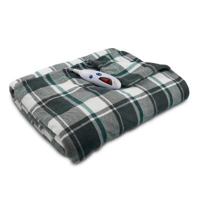 Microplush Electric Throw Blanket (62 x50 )Gray/White & Teal Blue Plaid - Biddeford Blankets