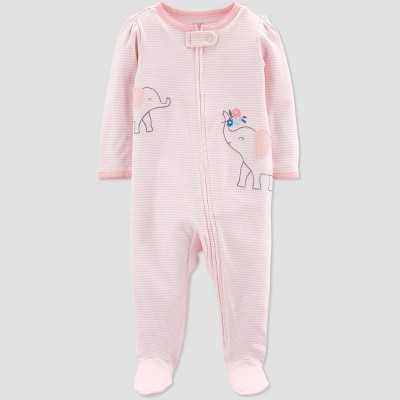 Baby Girls' Elephant Embroided Stripe Sleep 'N Play One Piece Pajama - Just One You® made by carter's Pink Newborn