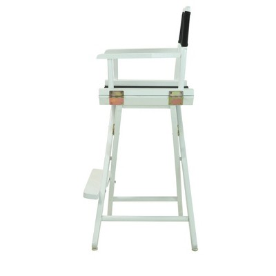 Bar-Height Director's Chair - White Frame, Black Canvas
