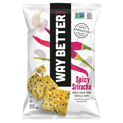 Way Better Snacks Simply Spicy Sriracha Corn Tortilla Chips - 5.5oz (Pack of 12)