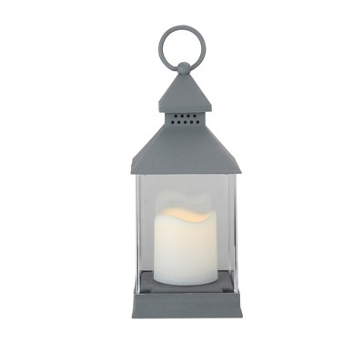 "Northlight 9.5"" Gray Candle Lantern with Flameless LED Candle Tabletop Decor"