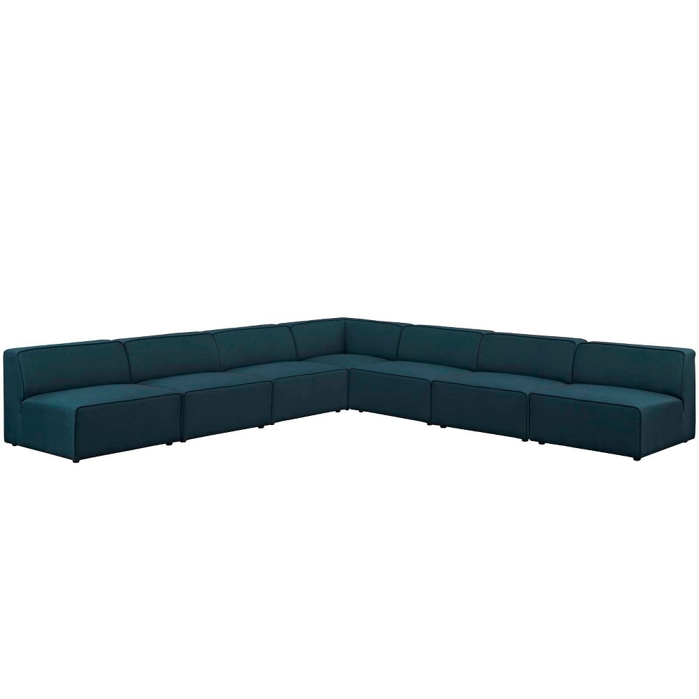 Mingle 7pc Upholstered Fabric Sectional Sofa Set Blue - Modway
