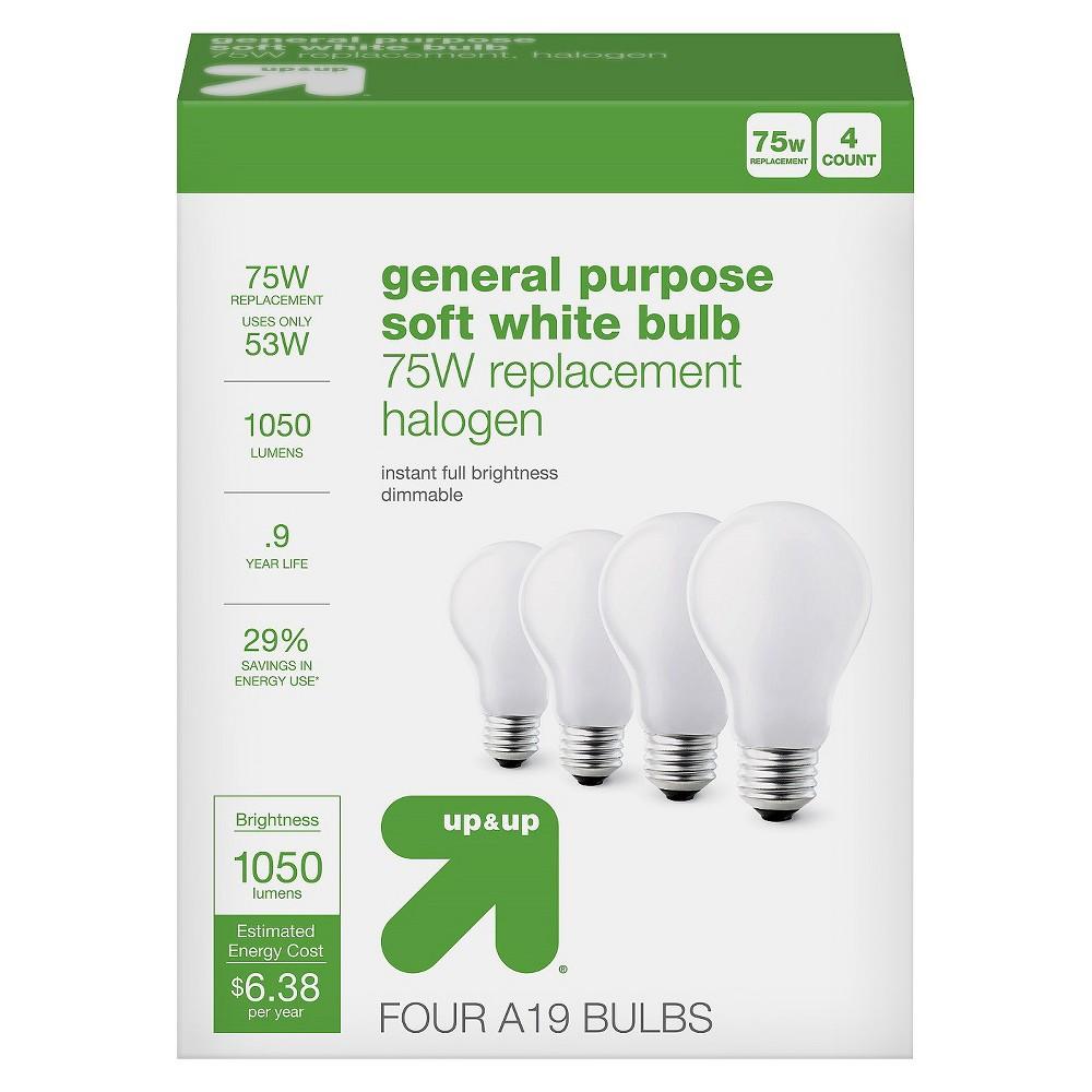 Light Bulb Halogen General Purpose Soft White 4PK 75W - Up&Up
