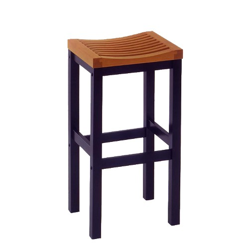 'Saddle Seat 29'' Barstool Hardwood/Black/Oak- Home Styles'