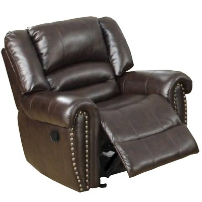 Individual Fun Bonded Leather and Plywood Recliner/Glider Brown - Benzara