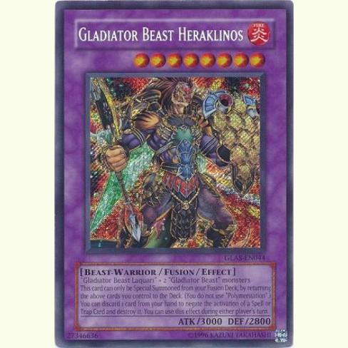 GLADIATOR BEAST HERAKLINOS SECRET RARE 1ST EDITION GLAS-EN044