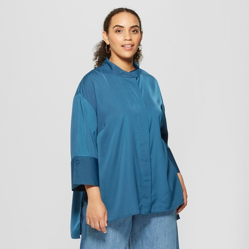 ef18ee109b5 Women s Plus Size 3 4 Sleeve Oversized Silky Tunic Top - Who What Wear™