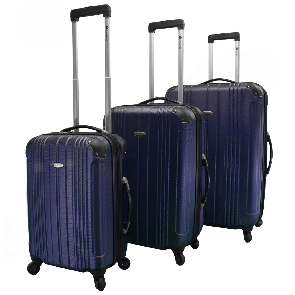 Image of Dumont Avery 3pc Hardside Spinner Luggage Set - Navy, Size: Small, Blue