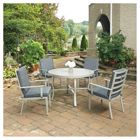 South Beach 5pc Round Metal Patio Dining Set w/ Chairs - Gray - Home Styles - image 1 of 3