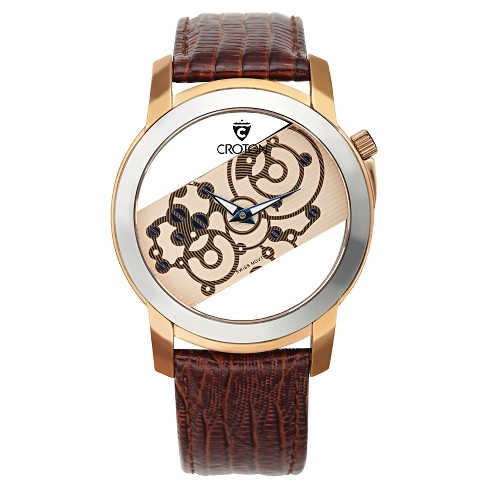 Men's Croton Stainless Steel Watch with Brown' Leather Band - image 1 of 3