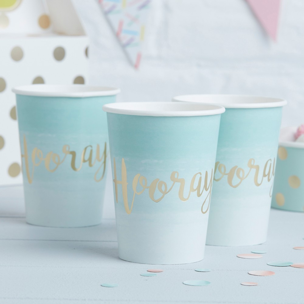 "Image of ""8ct """"Hooray"""" Foiled Paper Cups Teal, Green Gold"""
