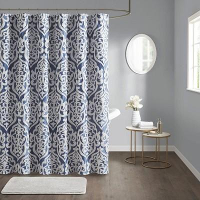 Eliot Jacquard Shower Curtain Navy