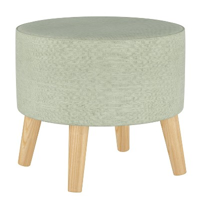 Round Ottoman with Splayed Legs Linen Swedish Blue - Skyline Furniture