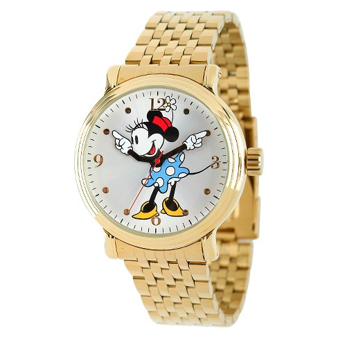 Women's Disney® Mickey Mouse Shinny Vintage Articulating Watch with Alloy Case - Gold - image 1 of 2