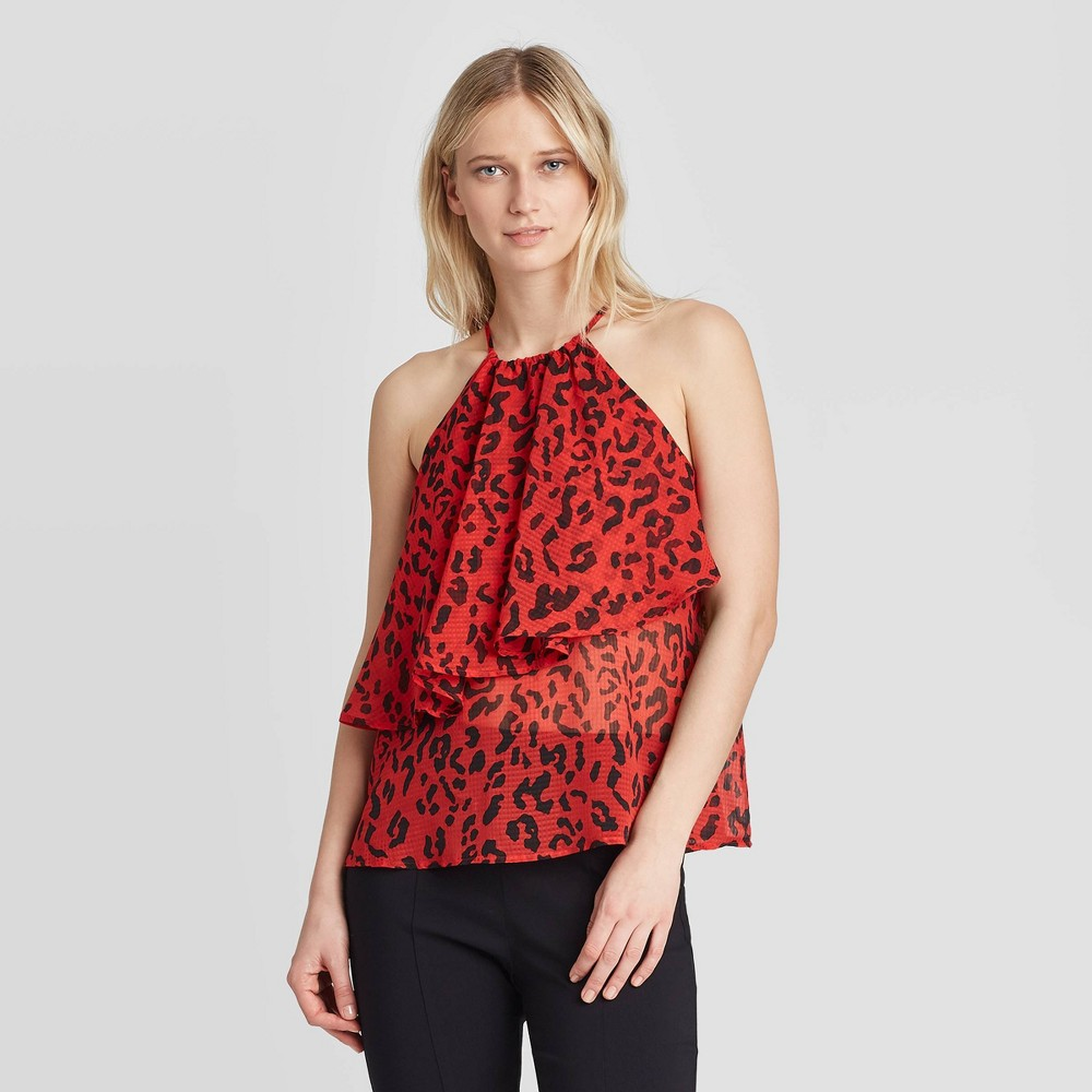 Image of Women's Animal Print Halter Neck Top - Who What Wear Red L, Women's, Size: Large