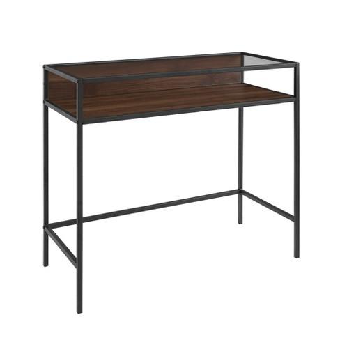 """35"""" Metal & Wood Compact Desk with Glass - Saracina Home - image 1 of 4"""
