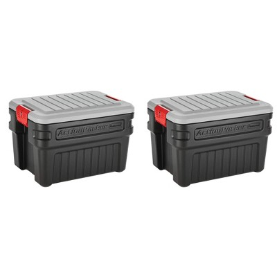 Rubbermaid 24 Gallon Action Packer Lockable Latch Indoor and Outdoor Storage Box Container, Black (2 Pack)
