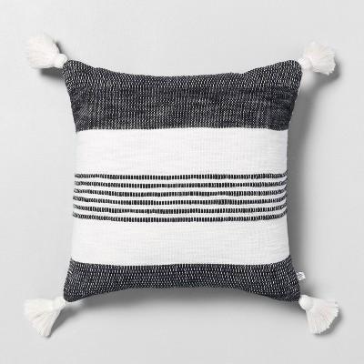 "18"" x 18"" Center Stripes Tassel Throw Pillow Railroad Gray - Hearth & Hand™ with Magnolia"