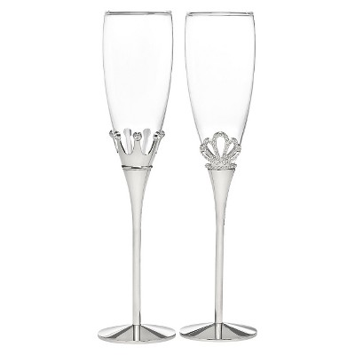 King and Queen Crown Wedding Champagne Flutes