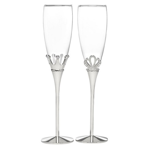 King and Queen Crown Wedding Champagne Flutes - image 1 of 1