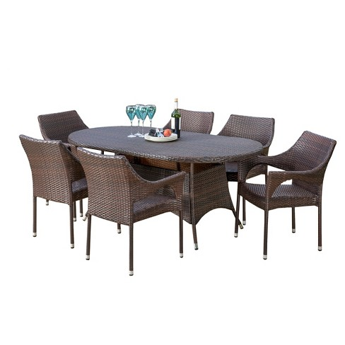 Lennox 7pc Wicker Dining Set - Multibrown - Christopher Knight Home - image 1 of 4