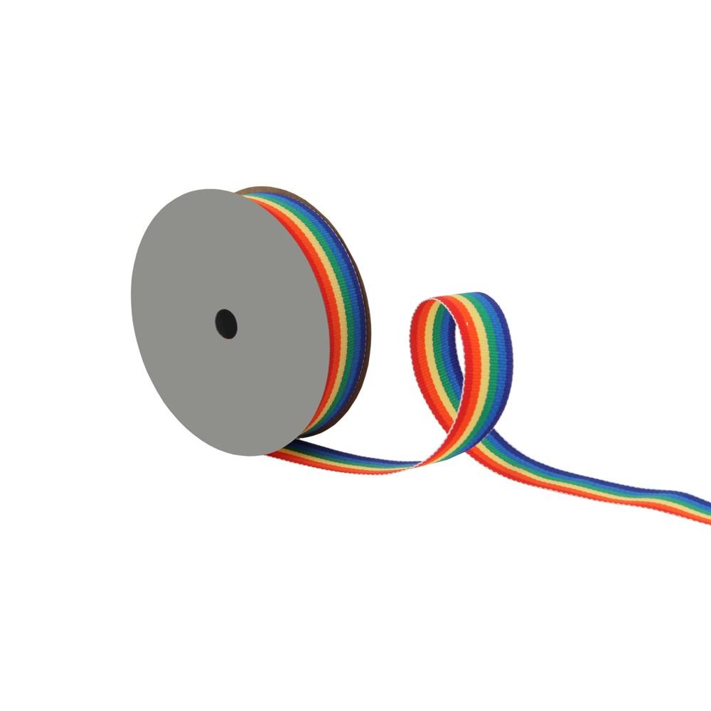 Rainbow Grosgrain Fabric Ribbon - Spritz, Multi-Colored