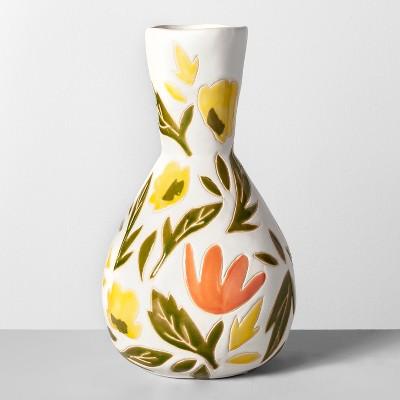 11.8  x 6.6  Decorative Earthenware Floral Vase - Opalhouse™