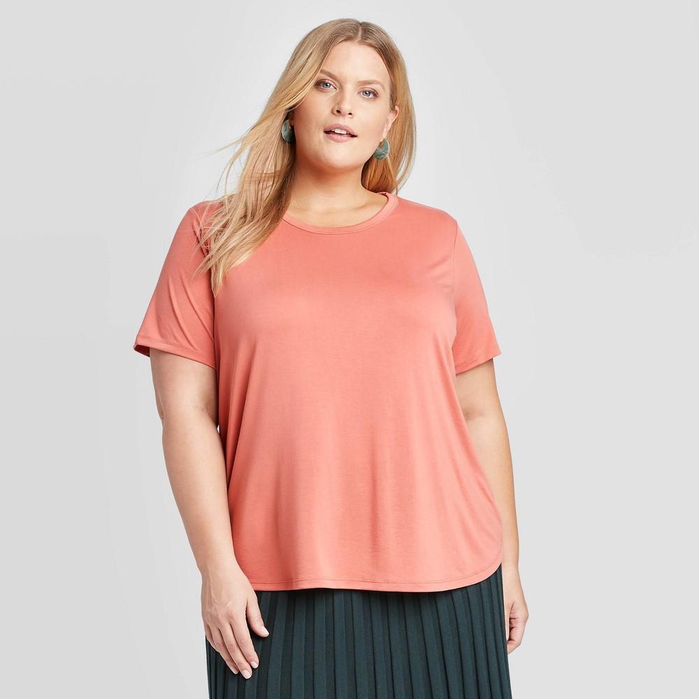 Women's Plus Size Short Sleeve Crewneck Sandwash T-Shirt - A New Day Red 1X, Women's, Size: 1XL was $14.0 now $9.8 (30.0% off)