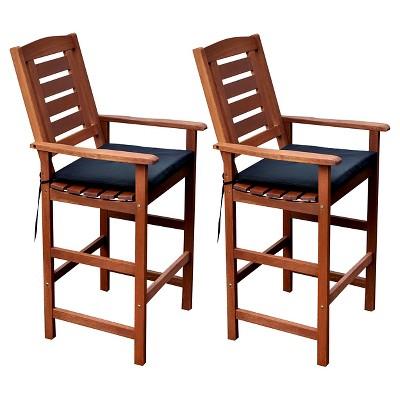 Miramar Set of 2 Hardwood Outdoor Bar Height Chairs - Cinnamon Brown/Black - CorLiving