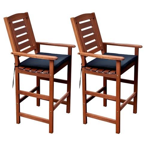 Miramar Set Of 2 Hardwood Outdoor Bar, Patio Furniture Bar Height Chairs