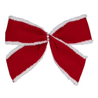 Northlight Pack of 6 Red Velveteen Bows with White Edges Christmas Decorations 5""