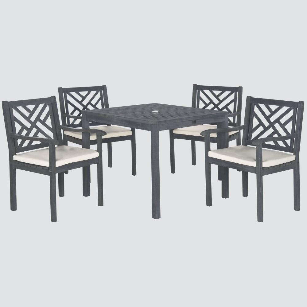 Bradbury 5pc Acacia Wood Dining Set - Gray - Safavieh