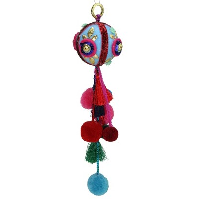"Northlight 10.25"" Blue and Red Ball with Pompoms Christmas Ornament"
